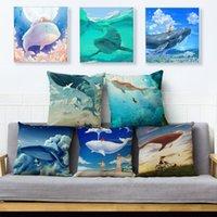 Desenhos animados Colorido Baleia Baleia Almofada Almofada de Linho Capas 45 * 45cm Lance Almofada Caso Carro Casa Decoração Animal Fronha