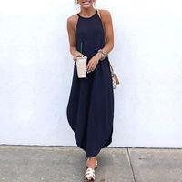 Casual Dresses Women Summer Sleeveless Halter Neck Long Dress Plus Size Solid Irregular Maxi Retro Loose Beach Sundress Robe 5XL
