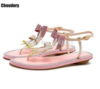 Fashion Butterfly-knot Bow-knot Rome Crystal Rhinestones Sandals Gladiator Shoes Ladies Open Toe Flats Women