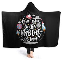 Soft Hooded Blanket - Love You to The Moon and Back Letter Microfiber & Sherpa Wearable Throw Cape Plush Blanket with Hood for