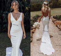 Spaghetti Beach Mermaid Wedding Dresses 2021 Backless Full Lace Country Bohemian Bridal Gowns Wear Robe De Mariee