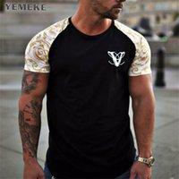 Yemeke Brand T-shirts verano manga corta o-cuello raya estampado suelto slim t shirt para hombre Tops TEE 210707