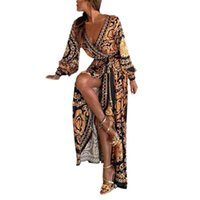 Casual Dresses Fashion Sexy Womens Long Sleeve Deep V Neck Dress Printed Prom Gown Maxi Party Night Club Wear