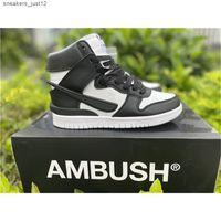Ambush x Dunk Yüksek Beyaz / Siyah-Ladin Aura CU7544-001 Nakenkin Basketbol Koşu Ayakkabıları Otantik Açık Moda 2021 Yeni