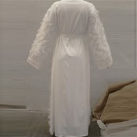 Eid Mübarek Beyaz Abaya Dubai Kimono Hırka Türk Müslüman Başörtüsü Elbise Abayas Kadınlar için Kaftan Umman Kaftan İslami Giyim