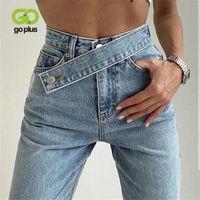 GOPLUS JEANS Kadınlar Geniş Bacak Pantolon Anne Femme Siyah Mavi Kot Yüksek Bel Kadın Pantolon 2021 Pantalones Spodnie Damskie C10796