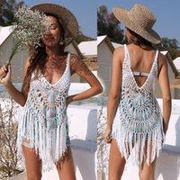 Women's Swimwear Summer Sexy Perspective Hollow Knitting Tassel Stitching Beach Bikini Blouse Womens Strap Skirt Top -40