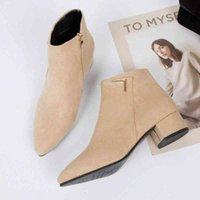 Fashion Women Boots Casual Leather Low High Heels Spring Shoes Woman Pointed Toe Rubber Ankle Boots Black Red Zapatos Mujer SW 5 Mens