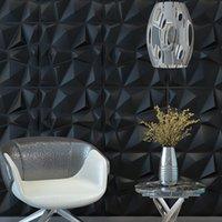 Art3d 50x50cm 3D Plastic Wall Panels Self-adhesive Soundproof Black Diamond Design for Living Room Bedroom TV Background (Pack of 12 Tiles 32 Sq Ft)