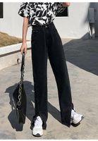 Women's Jeans 2021 Flare Women Denim Pants High Waisted Slit Leg Vintage Streetwear Bell Bottom Fashion Clothes Cut Out Full Length
