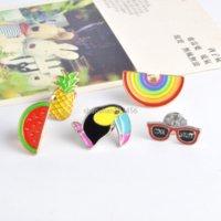 Enamel Brooch Pins Rainbow Glass Watermelon Cartoon Lapel Pin for Women Men Top Dress Cosage Fashion Jewelry Will and Sandy
