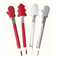 عيد الميلاد سيليكون ملقط الطعام أدوات المطبخ الفولاذ الصلب الخبز الشواء تونغ المنزلية الخبز bbq كليب حزب اللوازم OWB8960