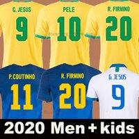 2020 كرة القدم جيرسي Camiseta de Futbol 2021 Brasil Men + Kids Kit Jesus Coutinho Paqueta Neres Marcelo Pele 20 21 Thailand كرة القدم قميص