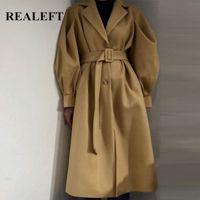 Realfef осень зимний фонарик рукава твердых женщин пальто ютные 2020 массуловые классические длинные траншеи женские ветровка карманы A3CF #