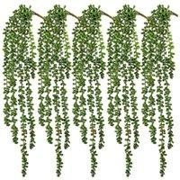 الزخرفية الزهور أكاليل 5 قطع العصارة الاصطناعية شنقا النباتات السائبة 2.4ft سلسلة كبيرة وهمية من اللؤلؤ ل جدار ديكور المنزل حديقة (UNP