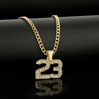 Arrival Crystal Hip Hop Basketball Number 23 Necklace Pendants Men Punk Bling Gold Color Rope Chain Jewelry Gift Chains