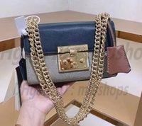 High Quality luxurys bags Fashion women CrossBody Flap Printed Handbag heavy Chains Real leather ladies 2021 Shoulder Bag purse designers Handbags