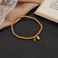 Charm Bracelets Fashion Titanium Steel Lotus Bracelet Elastic Bead Rubber Band Couple Jewelry For Women Men Gifts