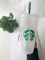 Germaid Boddess Starbucks 24oz / 710 мл пластиковые кружки Tumbler многоразовые четкие питьевые плоские нижние колонны формы крышки соломенные чашки 100 шт. По DHL