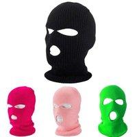 Hiver chaleur plein couverture de visage de ski de moto chapeau de masque de ski 3 trous de Balaclava armée tactique trico-tricoter des bonnets chapeaux