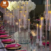 Party Decoration Wholesale 10 Arms Long Stemmed Modern Clear Acrylic Tube Hurricane Crystal Candle Holders Wedding Table Centerpieces Candel tr