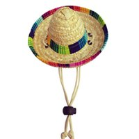 Dog Apparel Mini Pet Dogs Straw Hat Sombrero Cat Sun Beach Party Hats Hawaii Style For Funny Accessories #C