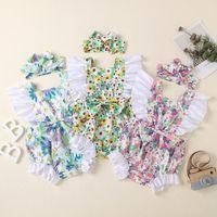 Bebek Kız Romper Tulum Yay Bandı Ile 2 Adet Toddler Onesie Ayçiçeği Baskı Bebek Kıyafet Çocuk Giysileri Yaz Giyim