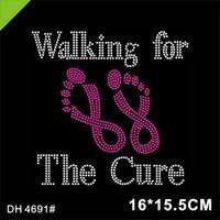워킹 치료 수정 라인 석 이송 모티브 유방암 인식 T 셔츠 4691