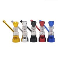 Mini narghilè vetro clessidra in plastica tubo tabacco fumo sigaretta metallo acqua asciutta tubi tubi filtro 5 colori schermo shisha accessori