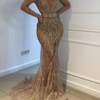 2021 New Gold Evening Dresses Jewel Neck Beaded Sequined Lace Long Sleeve Mermaid Prom Dress Sweep Train Custom Illusion Robes De Soirée