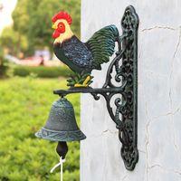 Gallo in ghisa in ferro mano abrasivo porta campana vernice antica verde rosso giallo parete a due lati in metallo benvenuto oggetti decorativi figurine