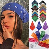 Vintage Bohemia Stampa Bandana Capel Bands per ragazze Donne Fascia Scarf Face Mask Cross Turban Bandanas Headwear 55CMX55CM Y0723