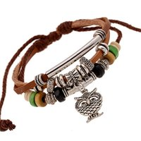 Fashion Owl Trendy Pendant Beaded Leather Bracelet