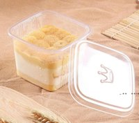 Temizle Kek Kutusu Şeffaf Kare Mousse Kapaklı Plastik Kek Kutuları Yoğurt Puding Düğün Parti Malzemeleri FWB10594