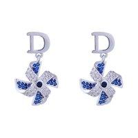 5 pairs/lot korean Jewelry Charm Earring wholesale for women girl nice Fashion big-brand popular letter crystal windmill earrings 145239 long 2.3cm