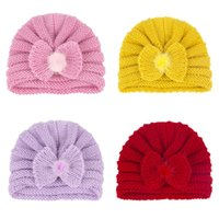 Baby Girl Solid Color Bowknot Knit Hats Headwear Kids Children Winter Autumn Caps Hair Care Fashion Accessories