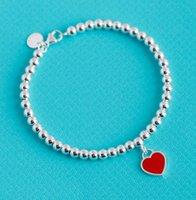 Hot Classic S925 Pure Silber Schmuck Email Herzförmige Tags Perle Armband Amerika und Europa Pop Girls Frau Urlaub Geschenke mit Box