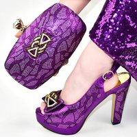 Dress Shoes Latest Purple Italian Ladies and Bags per abbinare Sandali Set con tacchi Nigerian Donne Pompe per matrimoni Party
