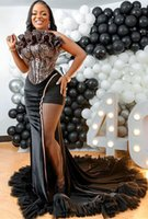 2021 Plus Size Arabic Aso Ebi Black Mermaid Stylish Prom Dresses Lace Strapless Sexy Evening Formal Party Second Reception Gowns Dress ZJ266