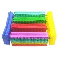 Colorful Silicone Fidget Toy Pencil Pen Case Push Bubble Decompression Toys Office Stationery Storage Bag Organizer