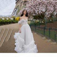Элегантные красивые чистые белые свадебные платья для мечты свадьба с плеча A-Line Свадебные платья задней застежки на молнии Мястирированные свадебные платья 2018