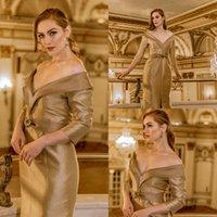 신부 드레스 플러스 사이즈 3/4 긴 소매의 화려한 금의 어머니 어깨 웨딩 게스트 드레스 프론트 슬릿 공식 이브닝 가운