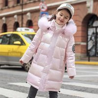 Down Coat 2021 Winter Shiny Jacket 5-14 Years Kids Teenage Cotton Parkas Outerwear For Girls Hooded Warm Children Collar