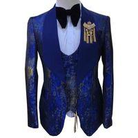 Men's Suits & Blazers Men Suit Fashion Printed 2021 Spring Autumn Groom Wedding Banquet Party Tuxedo 3 PCS Set Host Performance Dress