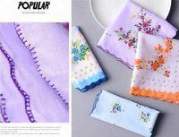 Mulheres Trabalhos 100% algodão Floral Flor Hankie Flor Bordado Handkerchief Colorido Colorido Senhoras Toalhas De Bolso De Casamento Favor Lle6036