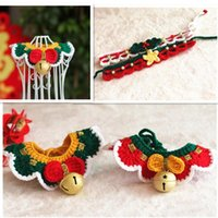 Cat Collars & Leads Christmas Dog Collar Pet Woven Woolen Year Spring Festival Puppy Necklace Products