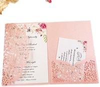 Greeting Cards 1pcs Blush Pink Burgundy Navy Blue Rose Gold Purple Floral Tri-fold Laser Cut Pocket Wedding Invitation Card Invite Envelopes