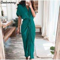 Повседневные платья Женщины Летняя Элегантная Кнопка Ruched Bandage Рубашка Платье Мода Короткая Рукав Сплошной V Шеи Пляж Maxi