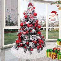 Christmas Decorations 1pc White Tree Skirt Snowflake Plush Fur Carpet Xmas Ornaments Floor Mat Home Wedding Birthday Party Decoration