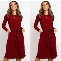 Cnmyou chute / hiver couleur solide courroie stretch robe fit pour femmes robes décontractées